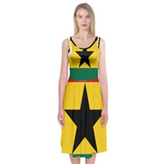 Flag Map of Ghana Midi Sleeveless Dress