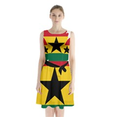 Flag Map of Ghana Sleeveless Chiffon Waist Tie Dress