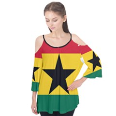 Flag Map of Ghana Flutter Tees