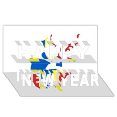 Flag Map of Orkney Islands  Happy New Year 3D Greeting Card (8x4)