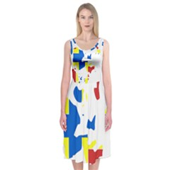 Flag Map of Orkney Islands  Midi Sleeveless Dress