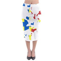 Flag Map Of Orkney Islands  Midi Pencil Skirt
