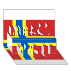 Flag of Orkney Miss You 3D Greeting Card (7x5)