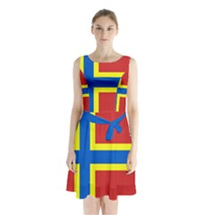 Flag Of Orkney Sleeveless Chiffon Waist Tie Dress