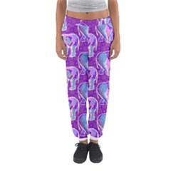 Cute Violet Elephants Pattern Women s Jogger Sweatpants