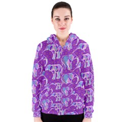 Cute Violet Elephants Pattern Women s Zipper Hoodie