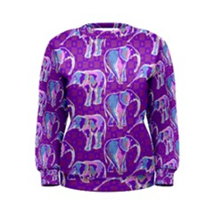 Cute Violet Elephants Pattern Women s Sweatshirt