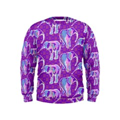 Cute Violet Elephants Pattern Kids  Sweatshirt