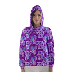 Cute Violet Elephants Pattern Hooded Wind Breaker (women)