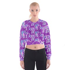 Cute Violet Elephants Pattern Women s Cropped Sweatshirt