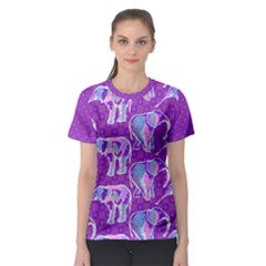 Cute Violet Elephants Pattern Women s Sport Mesh Tee
