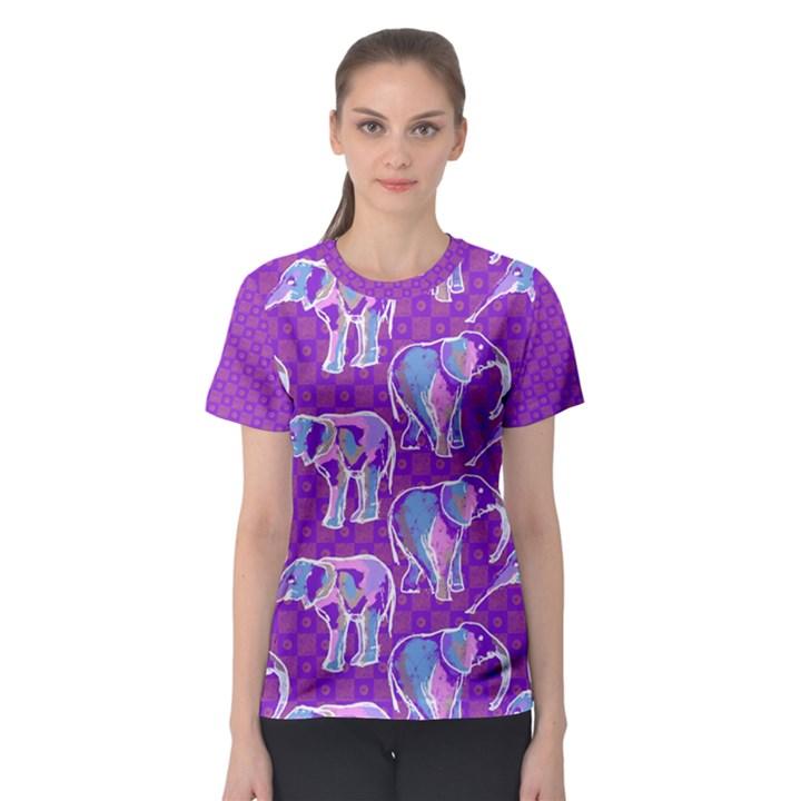 Cute Violet Elephants Pattern Women s Sport Mesh Tee