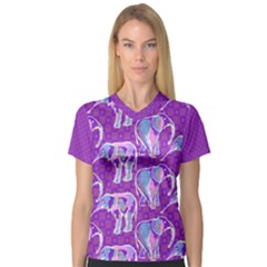 Cute Violet Elephants Pattern Women s V-Neck Sport Mesh Tee