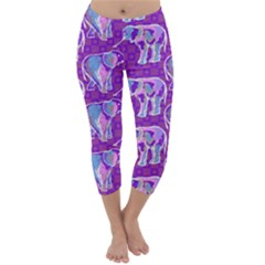 Cute Violet Elephants Pattern Capri Winter Leggings