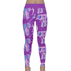 Cute Violet Elephants Pattern Yoga Leggings