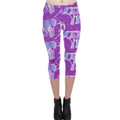 Cute Violet Elephants Pattern Capri Leggings