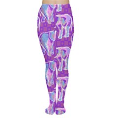 Cute Violet Elephants Pattern Tights