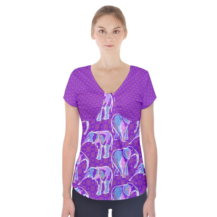 Cute Violet Elephants Pattern Short Sleeve Front Detail Top