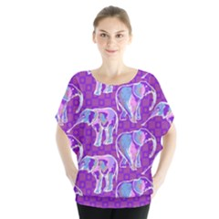 Cute Violet Elephants Pattern Batwing Chiffon Blouse