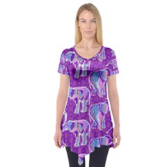 Cute Violet Elephants Pattern Short Sleeve Tunic