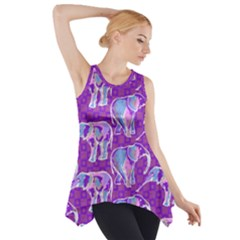 Cute Violet Elephants Pattern Side Drop Tank Tunic