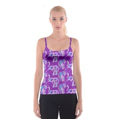Cute Violet Elephants Pattern Spaghetti Strap Top