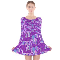 Cute Violet Elephants Pattern Long Sleeve Velvet Skater Dress