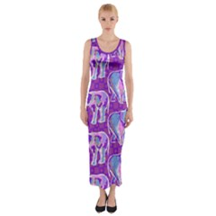 Cute Violet Elephants Pattern Fitted Maxi Dress