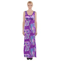 Cute Violet Elephants Pattern Maxi Thigh Split Dress