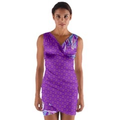 Cute Violet Elephants Pattern Wrap Front Bodycon Dress