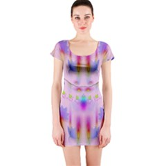 Rainbows And Leaf In The Moonshine Short Sleeve Bodycon Dress