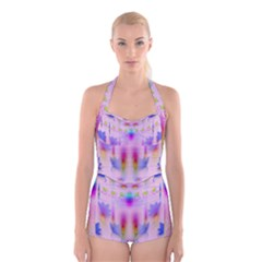 Rainbows And Leaf In The Moonshine Boyleg Halter Swimsuit