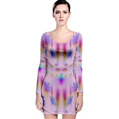 Rainbows And Leaf In The Moonshine Long Sleeve Velvet Bodycon Dress