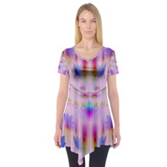 Rainbows And Leaf In The Moonshine Short Sleeve Tunic