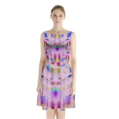 Rainbows And Leaf In The Moonshine Sleeveless Chiffon Waist Tie Dress