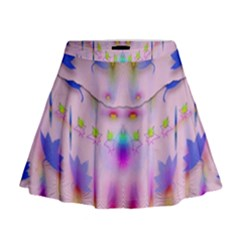 Rainbows And Leaf In The Moonshine Mini Flare Skirt