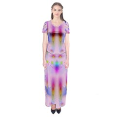 Rainbows And Leaf In The Moonshine Short Sleeve Maxi Dress