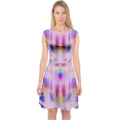 Rainbows And Leaf In The Moonshine Capsleeve Midi Dress