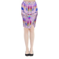 Rainbows And Leaf In The Moonshine Midi Wrap Pencil Skirt