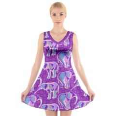 Cute Violet Elephants Pattern V-Neck Sleeveless Dress