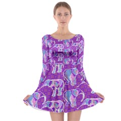Cute Violet Elephants Pattern Long Sleeve Skater Dress