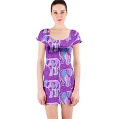 Cute Violet Elephants Pattern Short Sleeve Bodycon Dress
