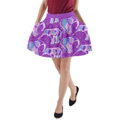 Cute Violet Elephants Pattern A-Line Pocket Skirt