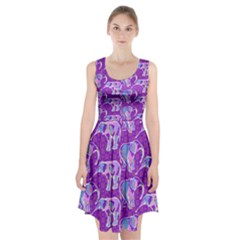 Cute Violet Elephants Pattern Racerback Midi Dress