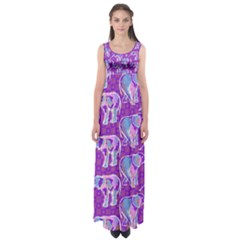 Cute Violet Elephants Pattern Empire Waist Maxi Dress