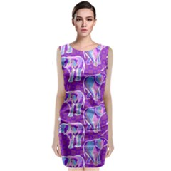 Cute Violet Elephants Pattern Classic Sleeveless Midi Dress