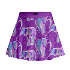 Cute Violet Elephants Pattern Mini Flare Skirt