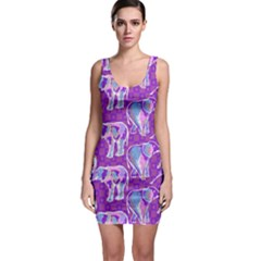 Cute Violet Elephants Pattern Bodycon Dress