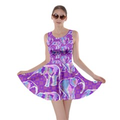 Cute Violet Elephants Pattern Skater Dress