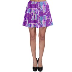 Cute Violet Elephants Pattern Skater Skirt